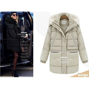 new 2017 Thick Lamb's Woolen Hooded Clothes winter jacket women Parka Female Down Jacket plus size winter coat women For Russian