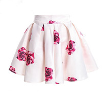 Women Flower Skirts with High Waist Pleated Chiffon Printing Short Mini Summer Skirt