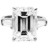 GIA Certified 5.81 Carat Emerald Cut Diamond Classic Platinum Ring