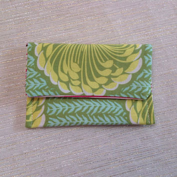 Big Green Blossom Card Wallet Gift for Her