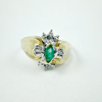 Vintage Emerald Ring 10k Yellow Gold Marquise Cut Green Emerald Diamond Surrounding Focal Stone Points Protected Size 6.5 Very Pretty