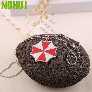 Movie Resident Evil Novel Red Umbrella Pendant Necklace For Women Jewelry Collier