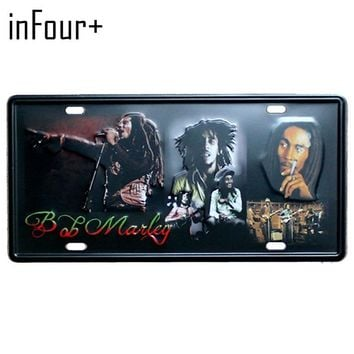 [inFour+] New Bob Marley Plate Metal Plate Car Number Tin Sign Bar Pub Cafe Home Decor Metal Sign Garage Painting Plaques Sign
