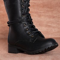 Reneeze Military Precision Wrapped Up Alice-2 Lace Up Combat Boots - Black