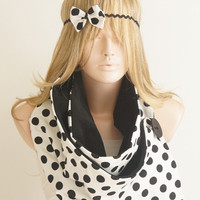 Dotted Bow Headband, black and white
