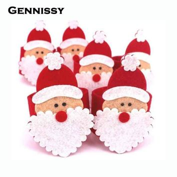 GENNISSY 8pcs/lot Christmas Santa Napkin Ring Table Decor for Hotel Napkin Buckle Christmas Decoration for Dinner Home Decor