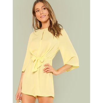 Yellow Bell Sleeve Knot Romper