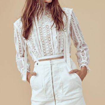 FOR LOVE & LEMONS | Victorian Tulle Blouse - Ivory