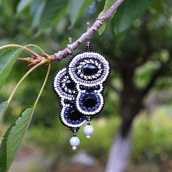 Black White Grey earrings Bead Embroidered earrings Long Beadwork Statement Earrings Monochrome Bead Embroidery earrings Gift idea for women