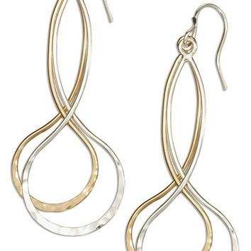 Sterling Silver And 12 Karat Gold Filled Long Double Infinity Dangle Earrings
