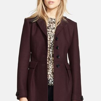 Women's Burberry Brit 'Elmwyn' Leather Trim Fit & Flare Wool Blend Coat