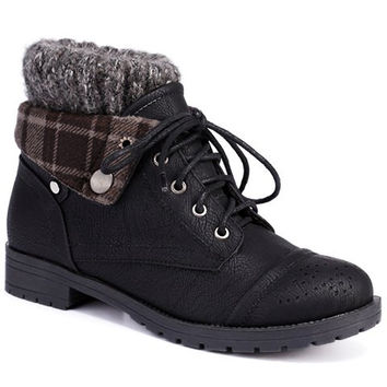 Plaid Design Sweater Boots With Engraving and Lace-Up Design