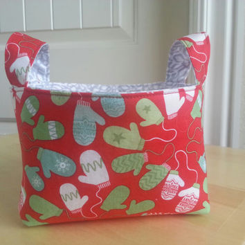CIJ ~ Small Fabric Storage Bin Basket ~ Mittens and Snowflakes