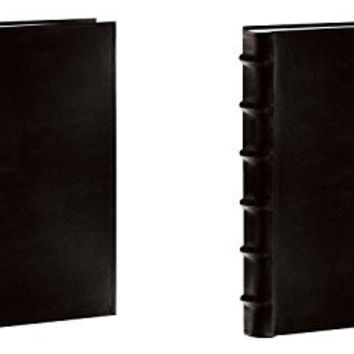 "Pioneer Sewn Bonded Leather BookBound Bi-Directional Photo Album, Holds 300 4x6"" Photos, 3 Per Page. Color: Black. (Set of 2, Black)"