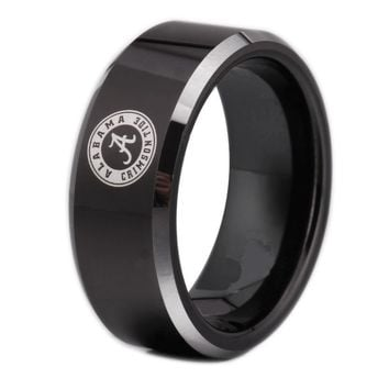 University of Alabama Crimson Tide | UA | Tungsten Ring Band | Black and Silver | 8MM