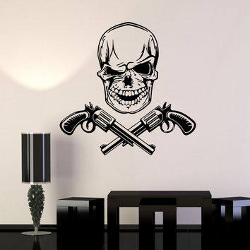 Skull Wall Stickers Gun Revolver Death Mafia Vinyl Decal Unique Gift (ig492)