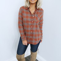 Crossing Paths Flannel: Burnt Orange/Multi
