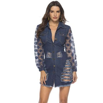 Lace Denim Ripped Holes Shirt Dress