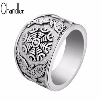 Chandler Oden's Ravens & Helm Of Awe Ring 15mm Wide Old Men's Boy's Stainless Steel Ring Band Flake Silver Black Biker Jewelry