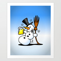 Snowman drinking a beer Art Print by Cardvibes