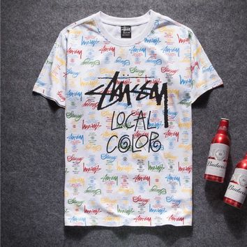 Stussy Woman Men Fashion Multicolor Print Tunic Shirt Top Blouse
