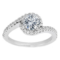 Engagement Ring - Round Diamond Swirl Halo Engagement Ring in 14K White Gold 0.26 tcw. - ES345MOD