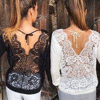 US Women Loose Long Sleeve Cotton Casual Blouse Shirt Top Floral Lace T-shirt