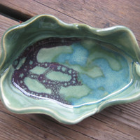 Green Ceramic Tray - Small Ceramic Dish - Green Turquoise & Crimson - Jewelry Dish