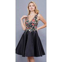 Knee Length Prom Dress A-Line Black-Floral Embroidered Bodice
