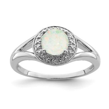 Sterling Silver Diamond & Round Created Opal Halo-Style Ring