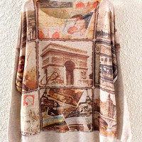 Vintage Multi Print Long Sleeve Knitted Sweater