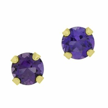 10K Gold 4mm Round-shaped Gemstone Stud Earrings