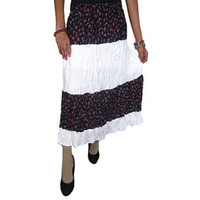 Mogulinterior Bohemian Long Skirt Floral Printed Hippie Peasant Gypsy Womens Skirts