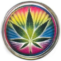 Psychedelic Colorful Marijuana Pot Leaf 18MM - 20MM Fashion Snap Jewelry Charm
