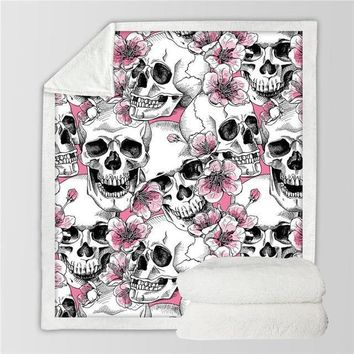 Many Skulls Floral Plush Sherpa Throw Blanket