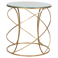 Carney Accent Table, Gold/White Glass, Standard Side Tables
