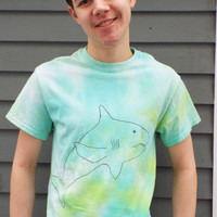 Shark Shirt- Shark Birthday Gift- Shark Tshirt- Teen Tie Dye T Shirt- Teen Boy Gift- Cute Shark Apparel- Adult S