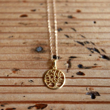 Gold Tree of Life Necklace, Tree Charm Necklace, Gold Family Tree Necklace, Gold Tree Necklace
