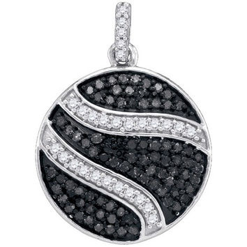 Black Diamond Micro-pave Pendant in 10k White Gold 0.75 ctw