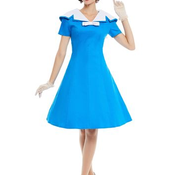 Chicloth Blue Sailor Collar A-Line Vintage Dress