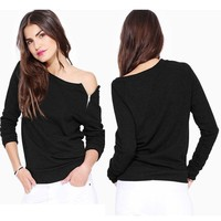 One Piece Summer Women Print One Shoulder Shirts Cotton   Sleeve Sports Tops Blouse = 5988186369