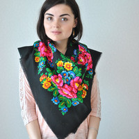 Vintage floral Summer Shawls, multicolour Scarf, boho hippie, beautiful Shawl, Valentine gift for her, headscarf Shawl