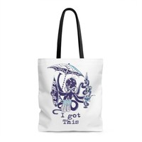 Funny Multitasker Beach Loving Octopus Aop Tote Bag