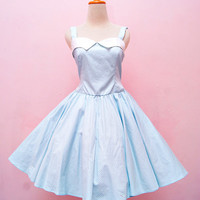 Vintage Pastel Blue Polka Dot Halter Swing Rockabilly Dress, Plus Size Pin Up Girl Party Dress