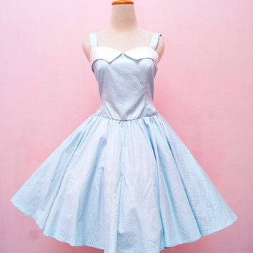 17501dc8abec Vintage Pastel Blue Polka Dot Halter Swing Rockabilly Dress