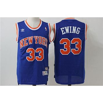 New York Knicks 33 Patrick Ewing Vintage Basketball Swingman Jersey