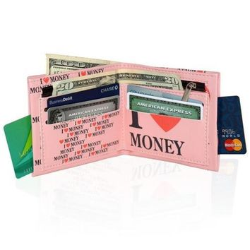 I Love Money Style Men's Billfold Wallet