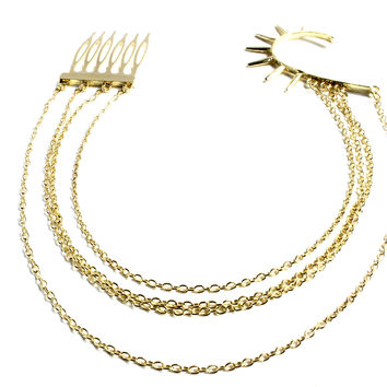 """""""Lady Liberty"""" Gold Cuff With Connecting Hair Comb"""