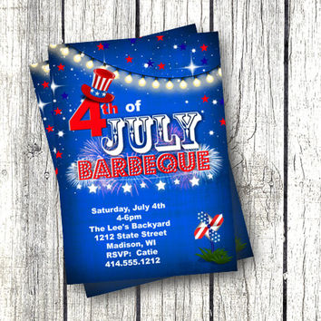 4th of July Invitation july 4th barbeque bbq invitation printable red white and blue firework invite for independence day flag