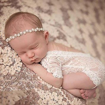 Fashion Newborn 2017 Lace Romper Baby Clothes Black White Newborn Photography Props Baby Girls Jumpsuit Infant New Born Clothing